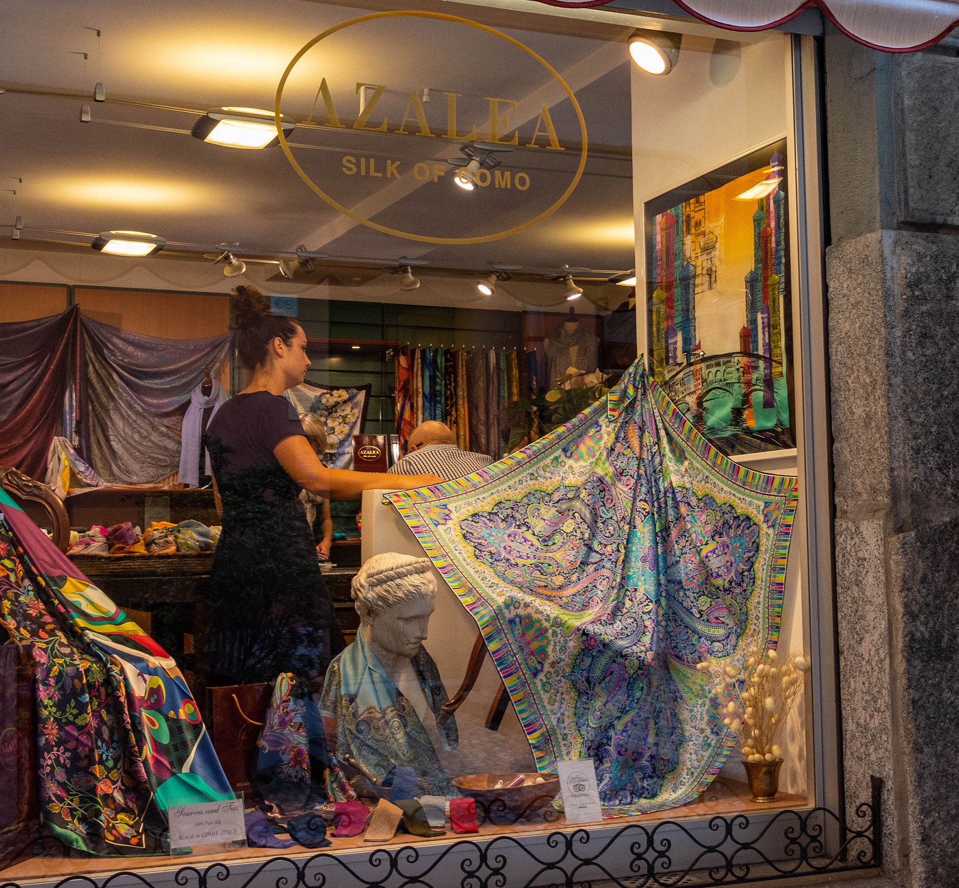 Como silk from Azalea on display in Bellagio