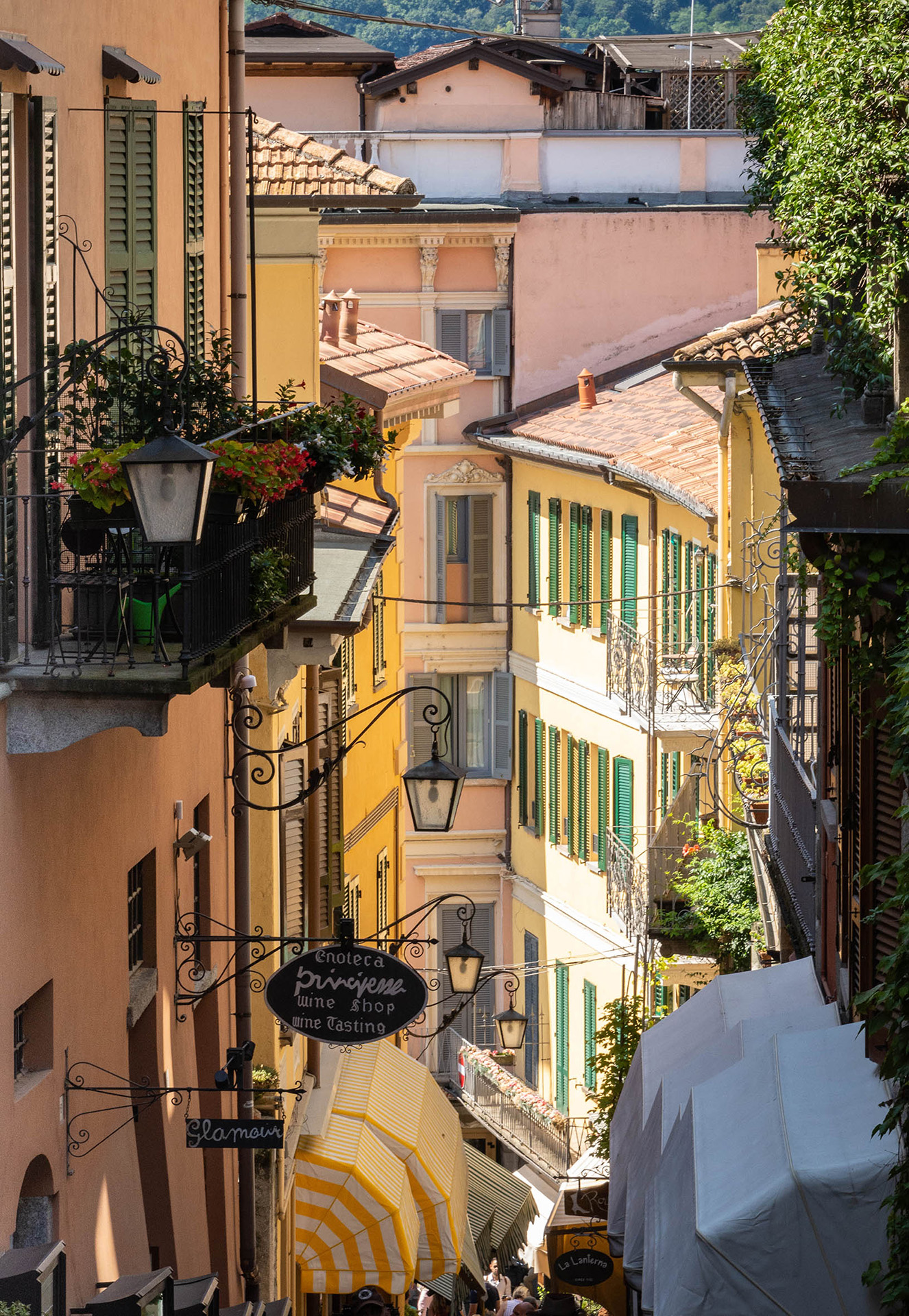 One of the steep and colourful pedestrianised streets of Bellagio
