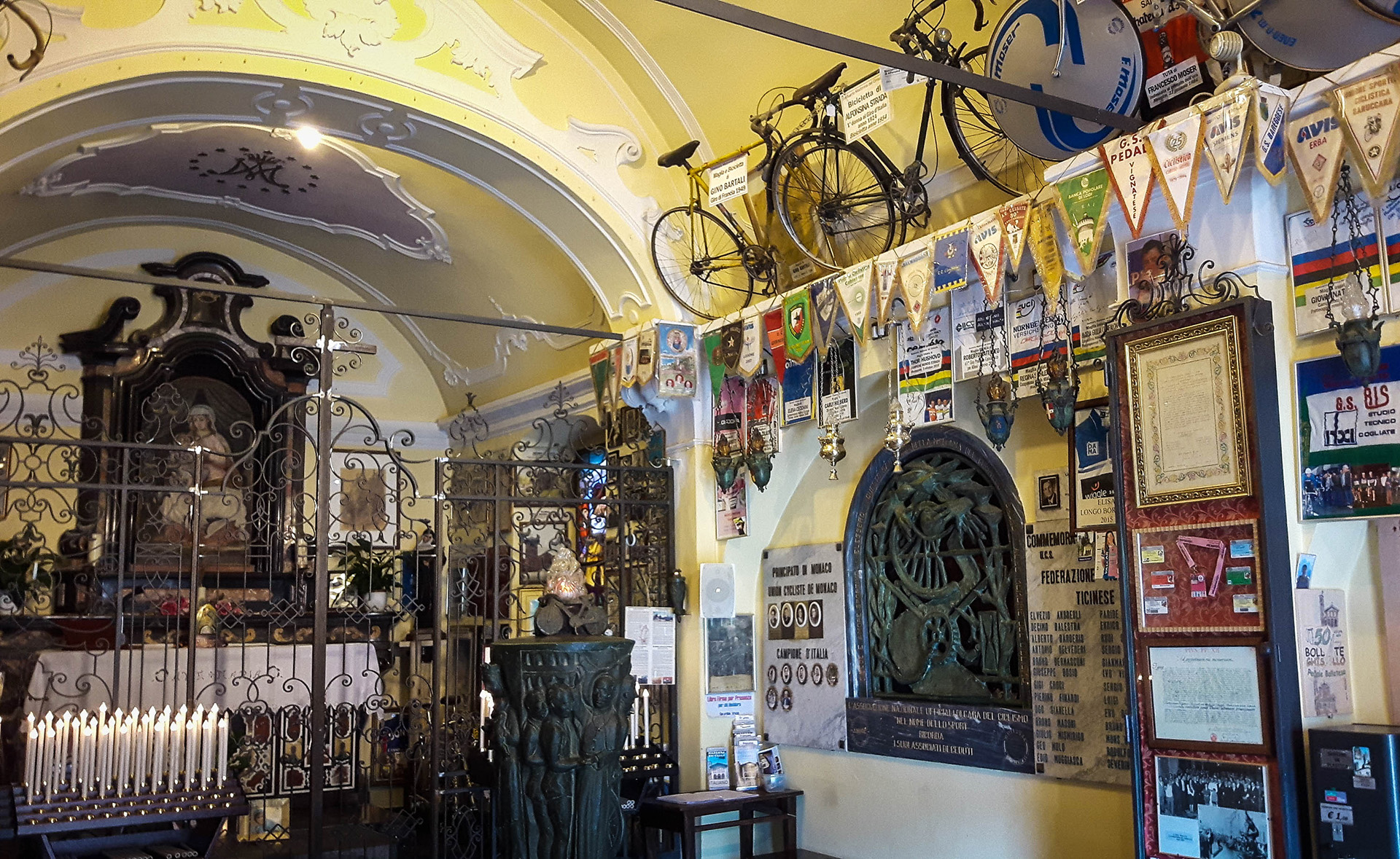 The extraordinary but solemn chapel of the Madonna di Ghisallo, patron Saint of Cycling located at the summit of the Passo del Ghisallo