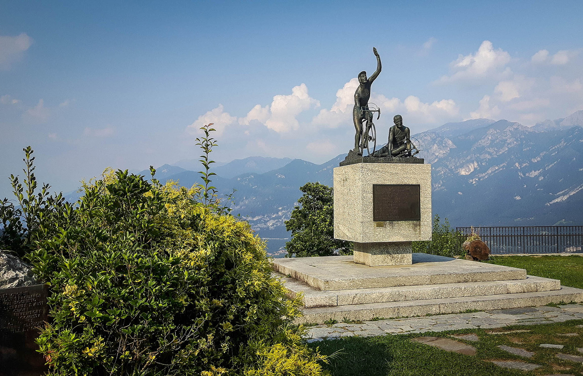 The monument to cycling at the summit of the Passo del Ghisallo, providing stunning views and an opportunity to consider the highs (victory) and lows (crashing) of cycling; the museum and chapel are close by.
