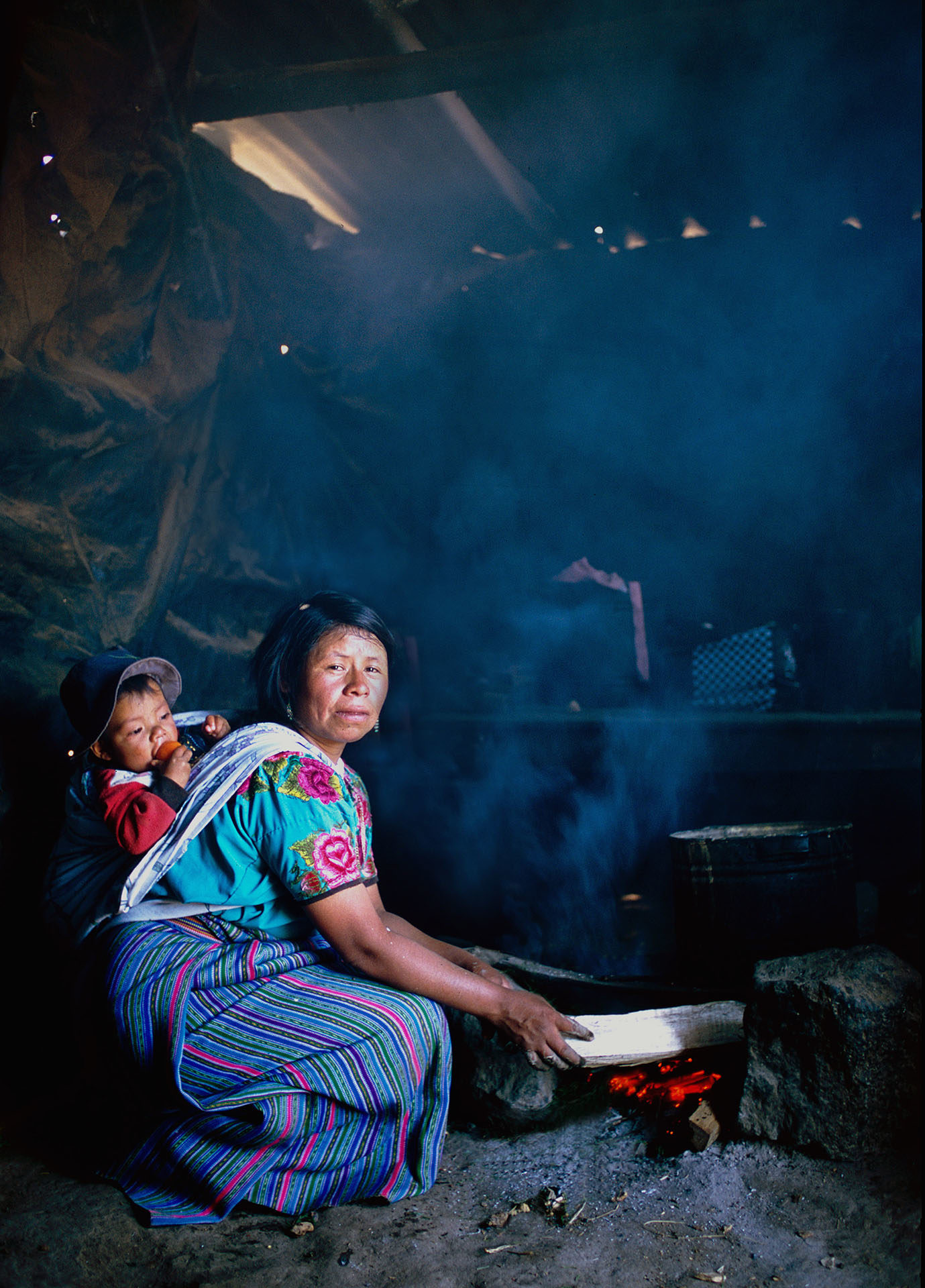 The urgent need for for clean cooking fuel - health damaging pollution from a traditional 3-stone wood fire in the San Marcos region of western Guatemala