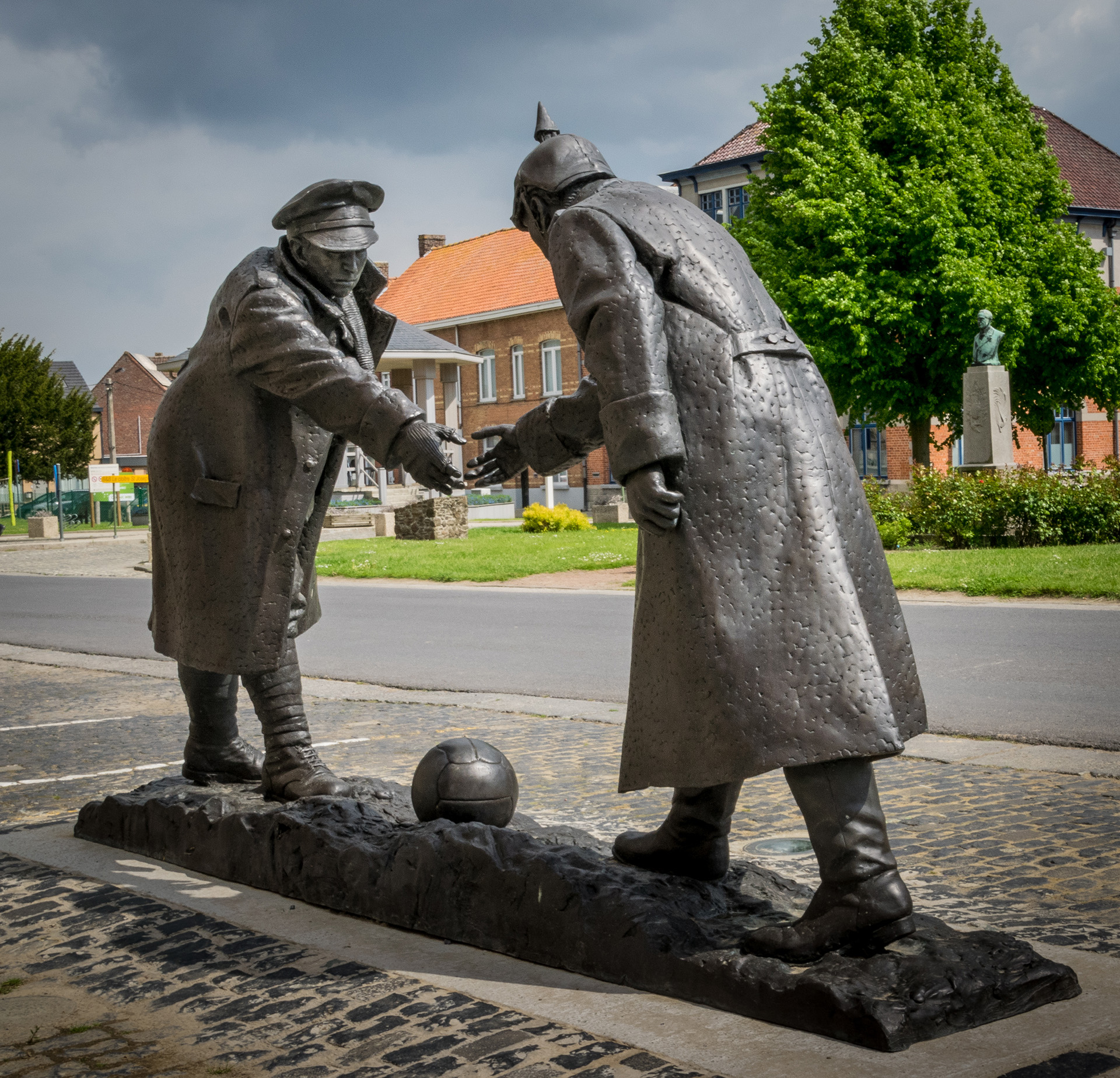 The Christmas Truce football match memorial at Messines