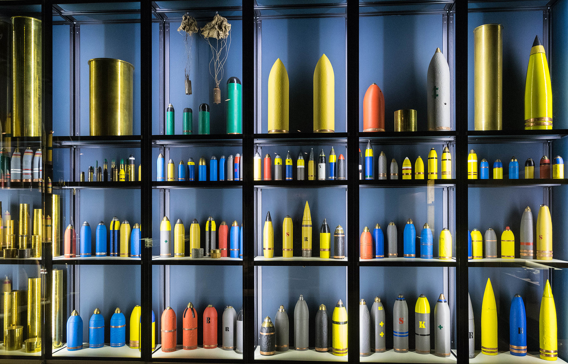 A wide range of shells, including those used to release poison gas, are displayed in the Passcendaele Museum, Zonnebeke