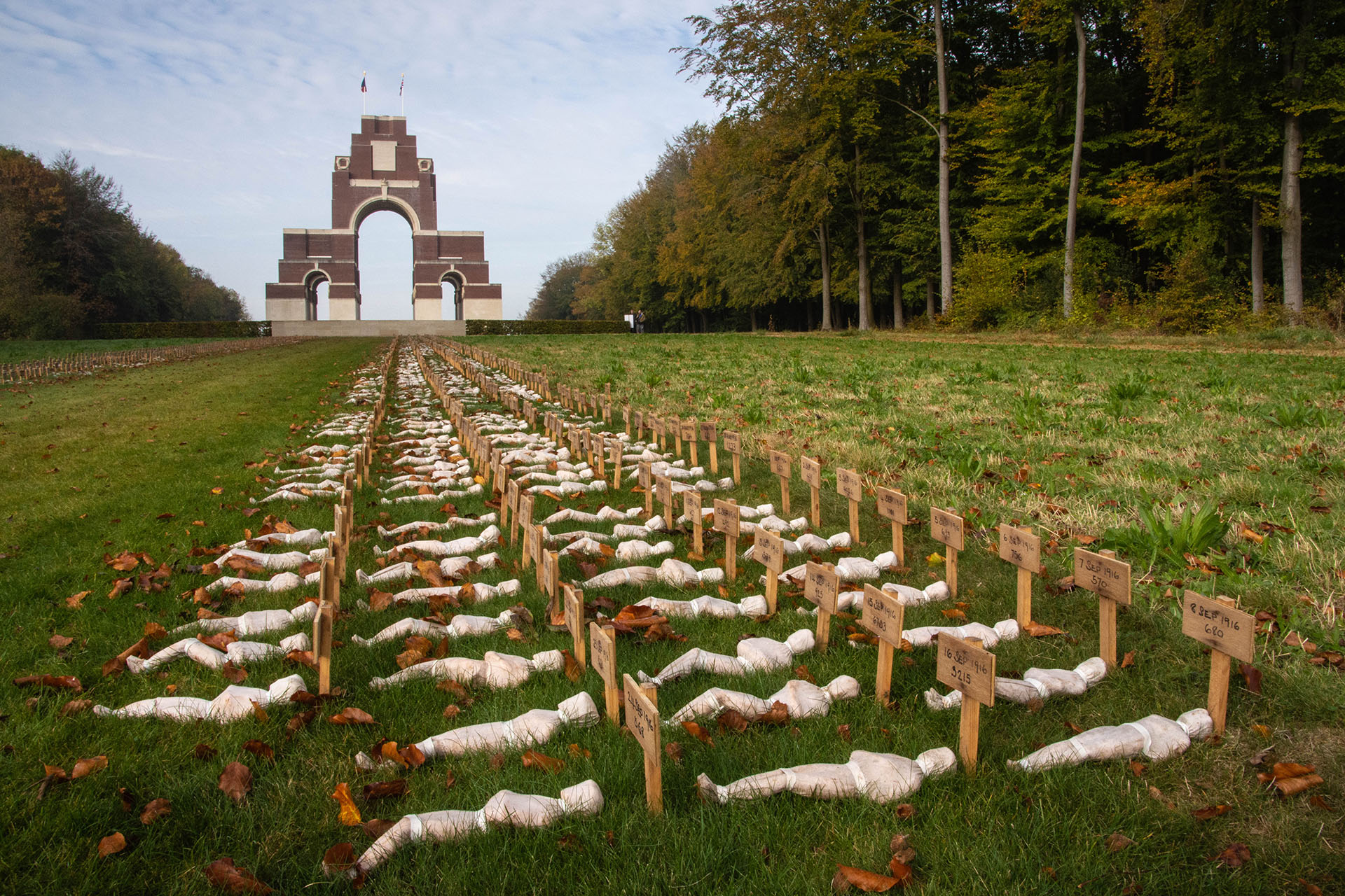 Sir Edwin Lutyens' great memorial to the Missing of the Somme at Thiepval, with an installation 'Shrouds of the Somme', by Rob Heard that commemorates British and Commonwealth dead
