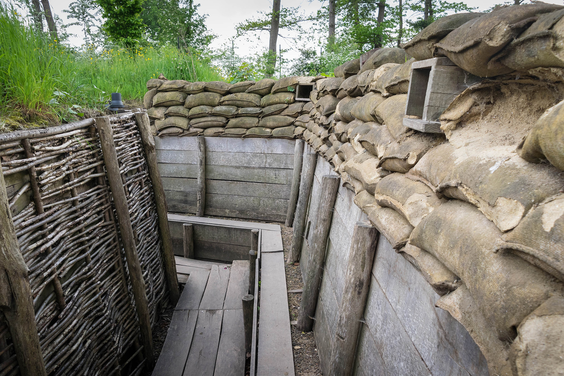 A reconstructed German trench at the Passchendaele Museum in Zonnebeke