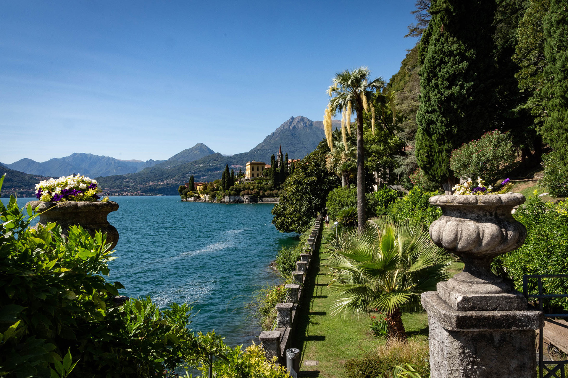 The botanical gardens of the Villa Monastero in Varenna, looking north back towards the lakeside village.