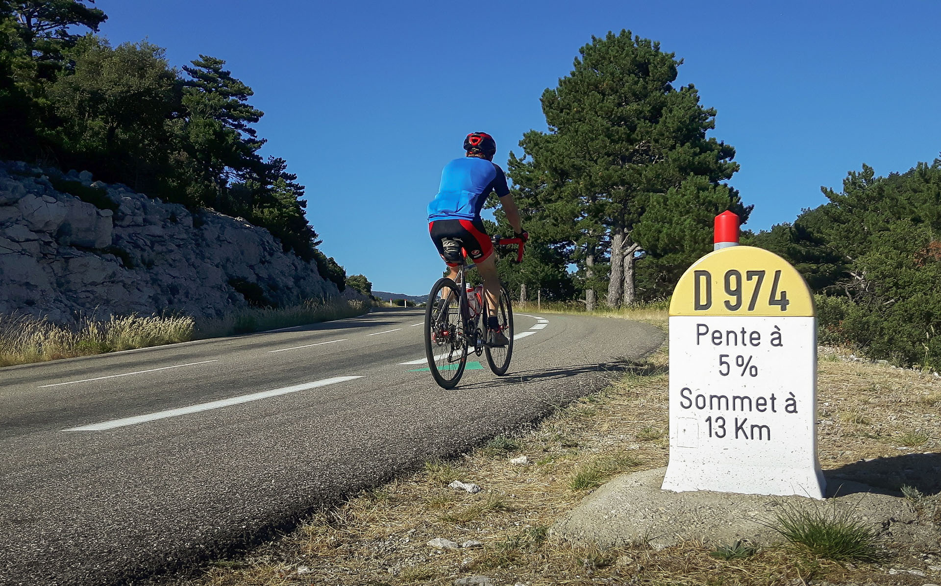 Training ride on the route from Malaucène to the summit of Mt Ventoux
