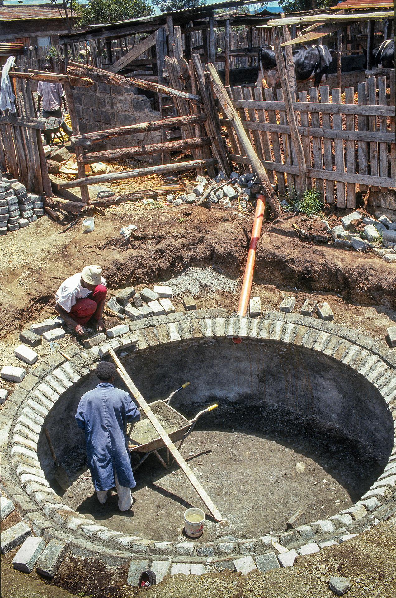 A biogas digester under construction near Nakuru, Kenya