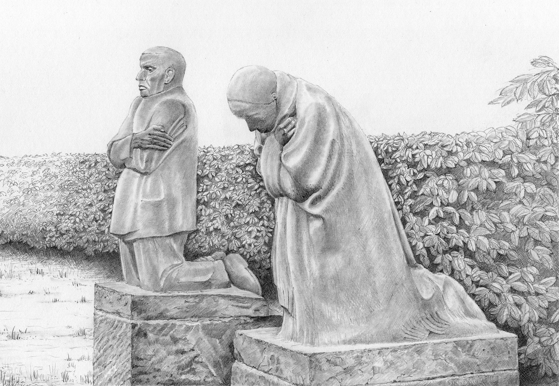 The 'Grieving Parents' by Käthe Kollwitz, at Vladslo German Cemetery near Diksmuide, Belgium. The sculpture is the artist's memorial to her son Peter, who was killed near Langemark in 1914