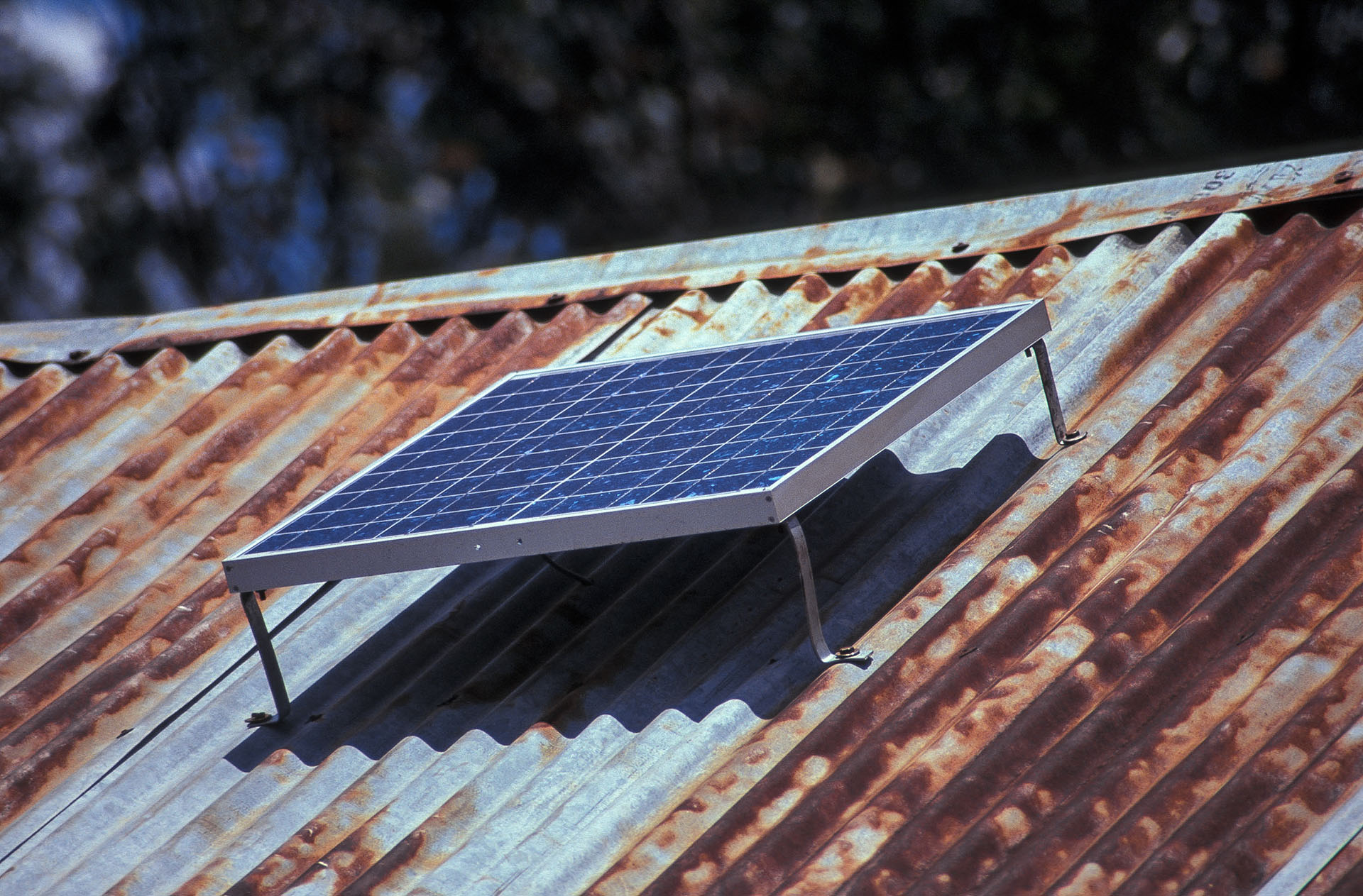 A small roof-mounted solar PV panel, which would could supply lighting, but would not provde sufficient power for cooking