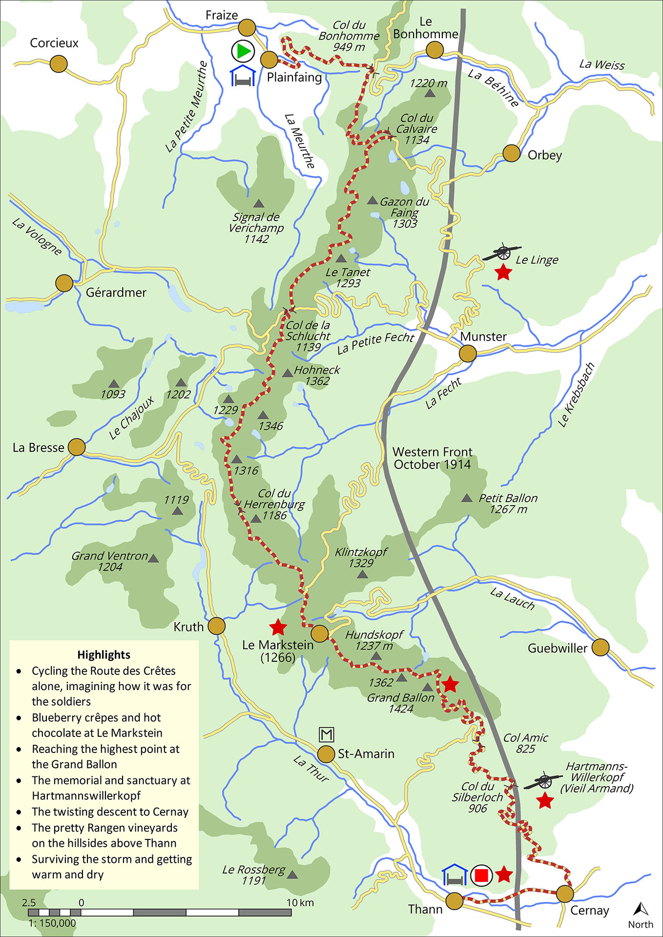 Map of ride from Plainfaing to Thann along the 'Route des Crêtes', a French military road built early in the Great War to supply the front line which ran close to the border with the German Empire