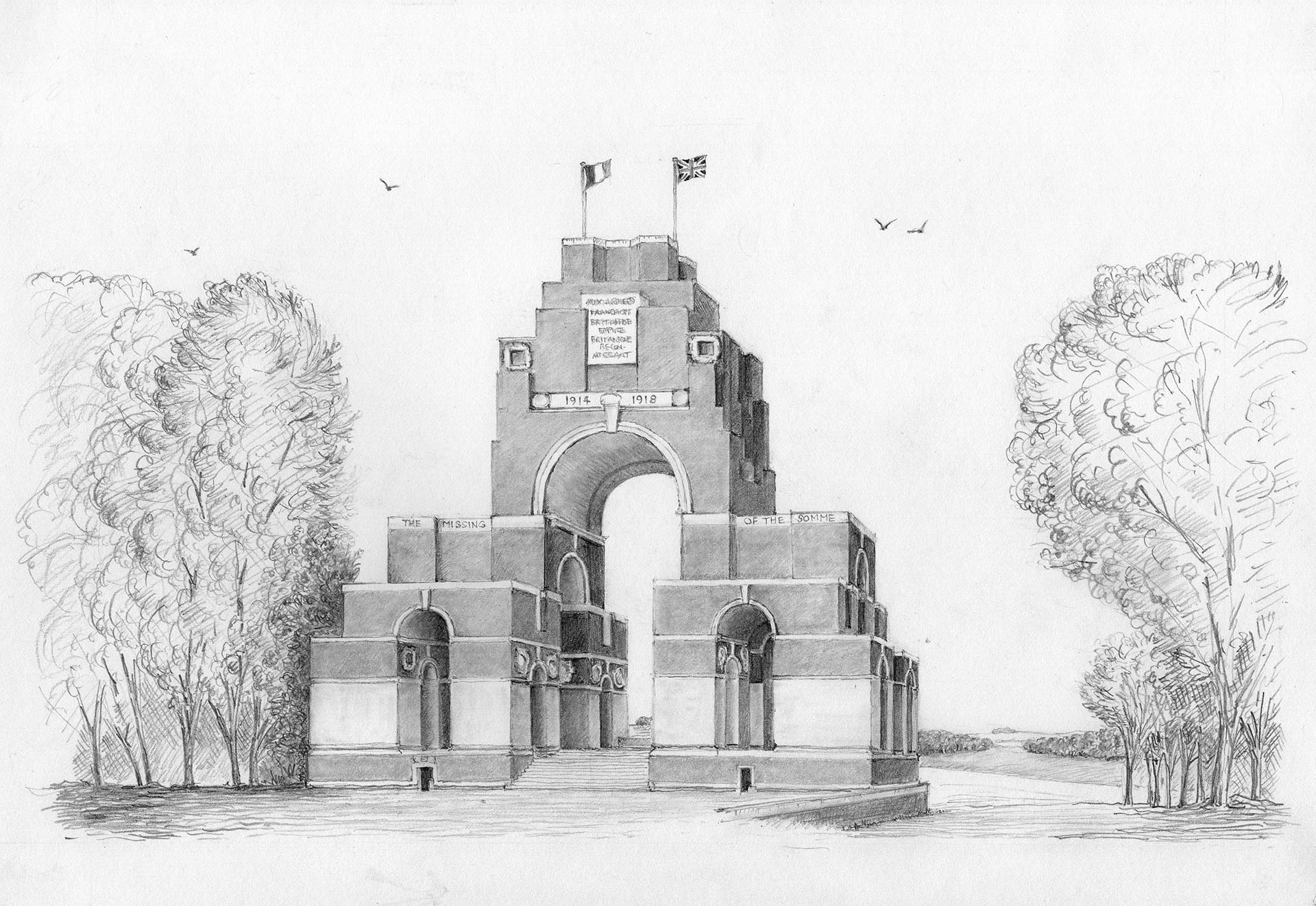 Sir Edwin Lutyens' memorial to the Missing of the Somme, Thiepval