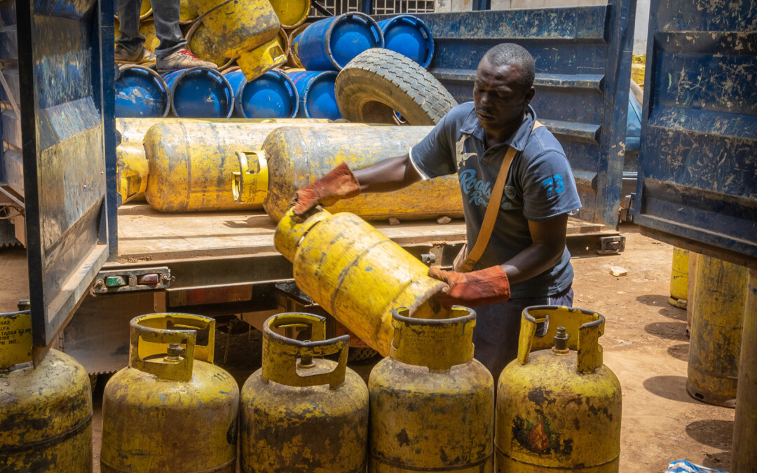 Unloading LPG cylinders at the central GlocalGaz depot in Yaounde, Cameroon
