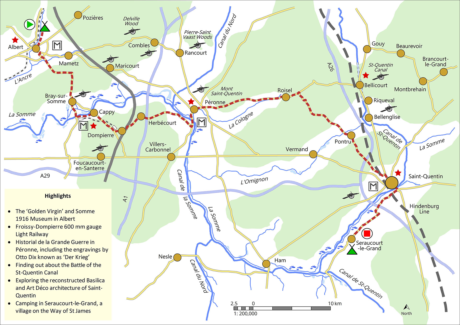 Ride (red dashed line) from Albert to Seraucourt-le-Grand passing through Péronne with its excellent 'Historial de la Grande Guerre' museum, and St-Quentin with its fabulous Art Deco buildings dating from reconstruction in the 1920s - Map © Nigel Bruce (full legend available)