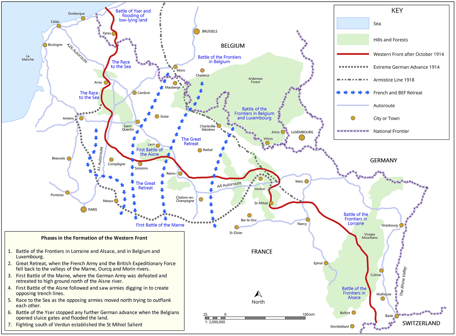 How the Western Front came to lie along this line: main battles and army movements which determined the position of the front by late October 1914