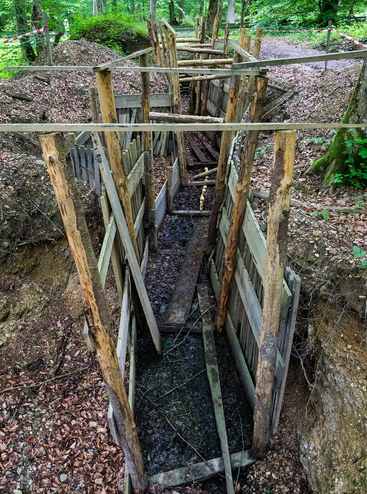 A reconstructed trench on the forest walk at Kilometre Zero, the southern end of the Western Front on the Swiss border
