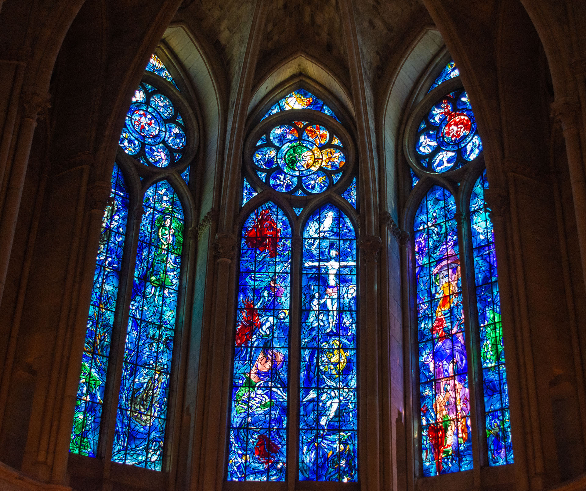 Stained glass windows by Marc Chagall in Notre-Dame de Reims, completed in 1974 and replacing some of those destroyed during the Great War