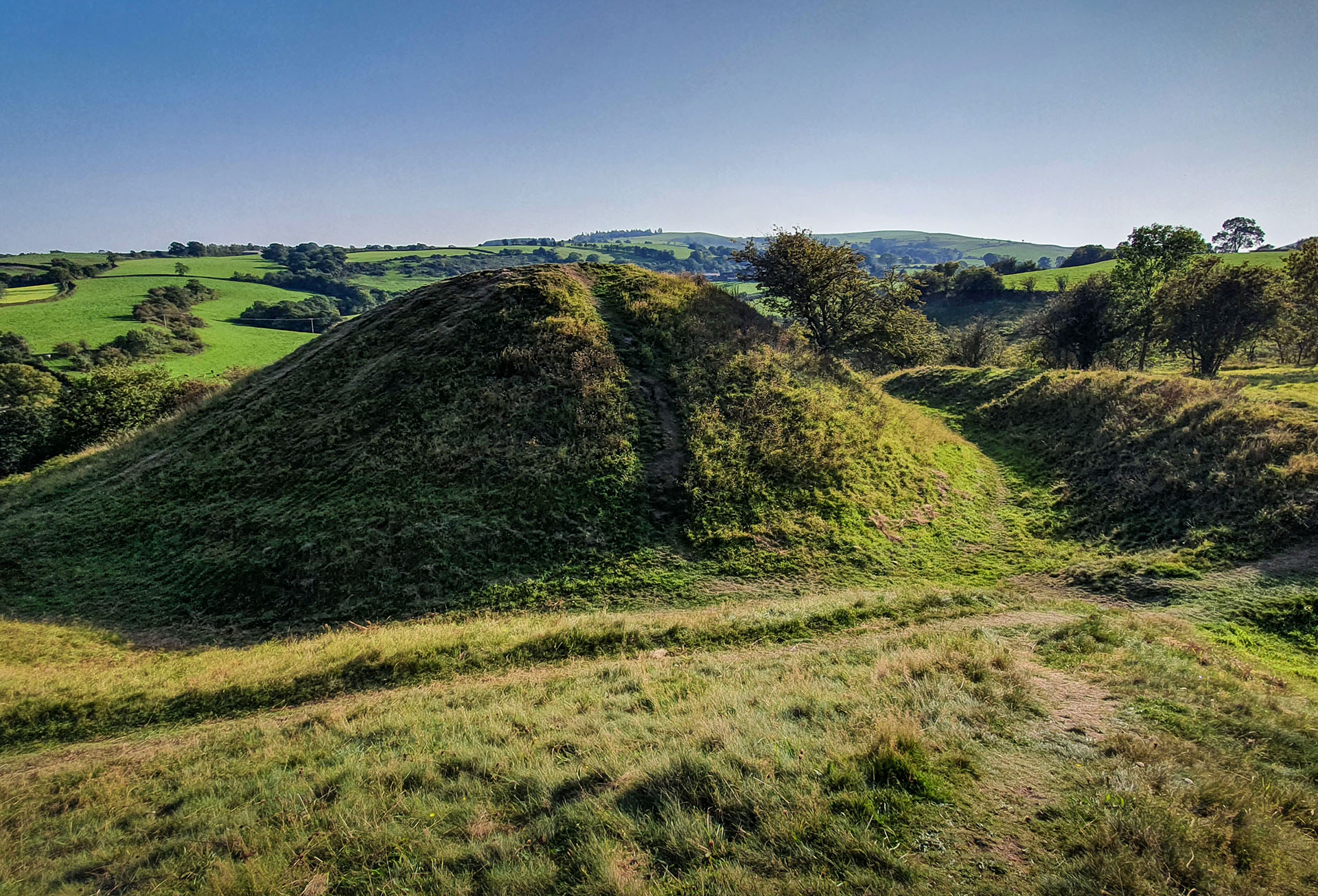 The 'Motte and Double Bailey' Norman castle at Pulverbatch, Shropshire