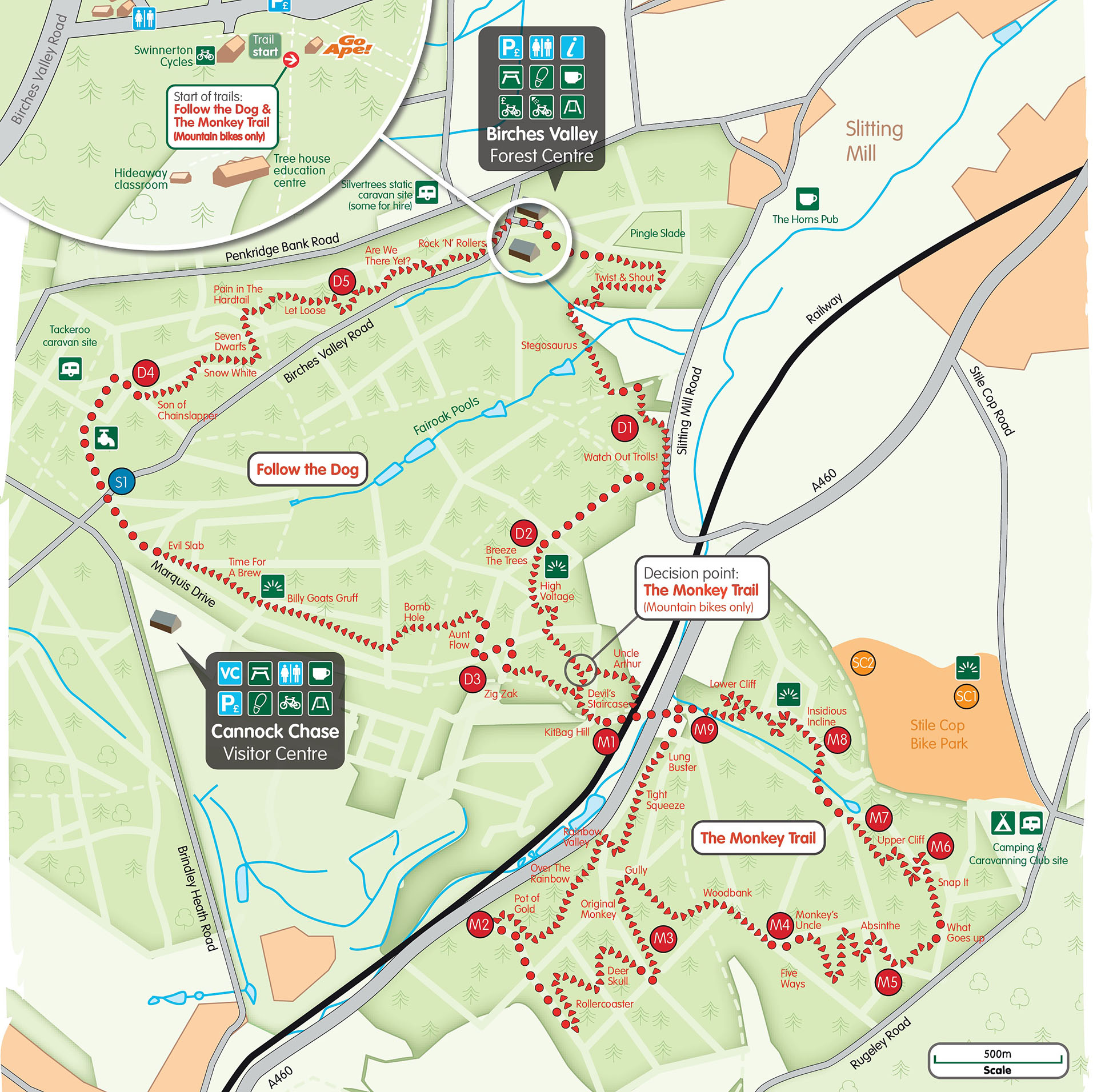 Map of Follow the Dog and the Monkey, the two red-graded trails at Cannock Chase, Staffordshire
