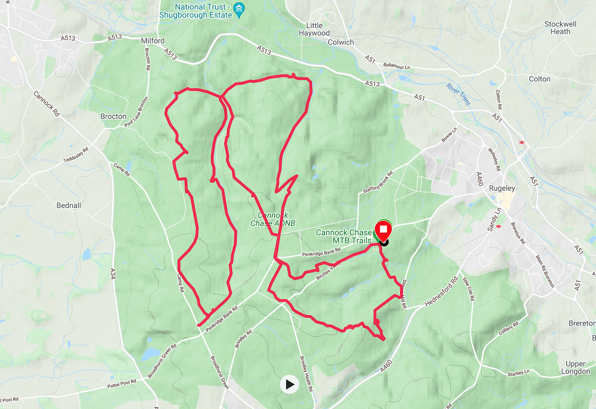 One of my rides around Cannock Chase featuring the trails (apart from the Monkey) and places described in this blog, downloaded from Garmin Connect