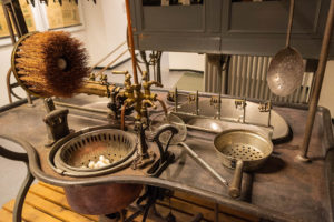 One of the many displays of silk production machines in the Como Silk Museum; this machine was used to heat, soak and unwind the 1,200 metre long silk threads from each cocoon.