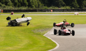 Ben Tilley takes off in the Historic Formula Ford championship race, Oulton Park Gold Cup weekend