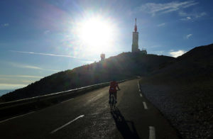 Heading for the summit of Mt Ventoux on the Malaucene ascent; like the more famous Tour de France climb from Bedoin, this route also climbs 1600 metres over 26 km.