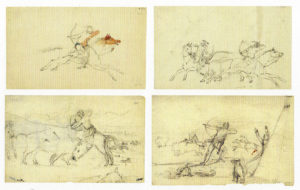 These illustrations by Titian Ramsey Peale (1799-1885) show the very high quality of many of the scientific drawings in the book, and also the variety of topics, here bison hunting in Missouri.